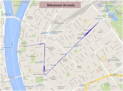 A március 29-i Békemenet útvonala a Kossuth tértől a Hősök teréig